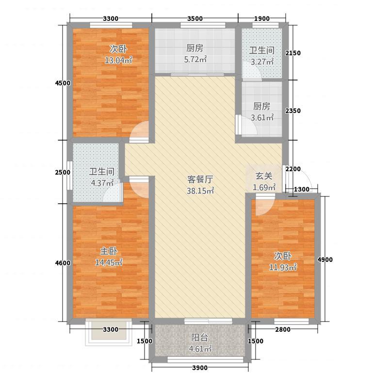 福鑫花园f2w_副本 3室2厅2卫1厨 124.33㎡