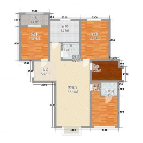 新隆小区4室1厅2卫1厨144.00㎡户型图