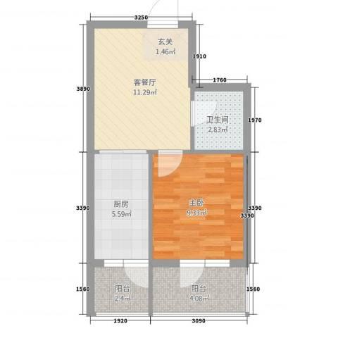 新宏基御景园1室1厅1卫1厨51.00㎡户型图