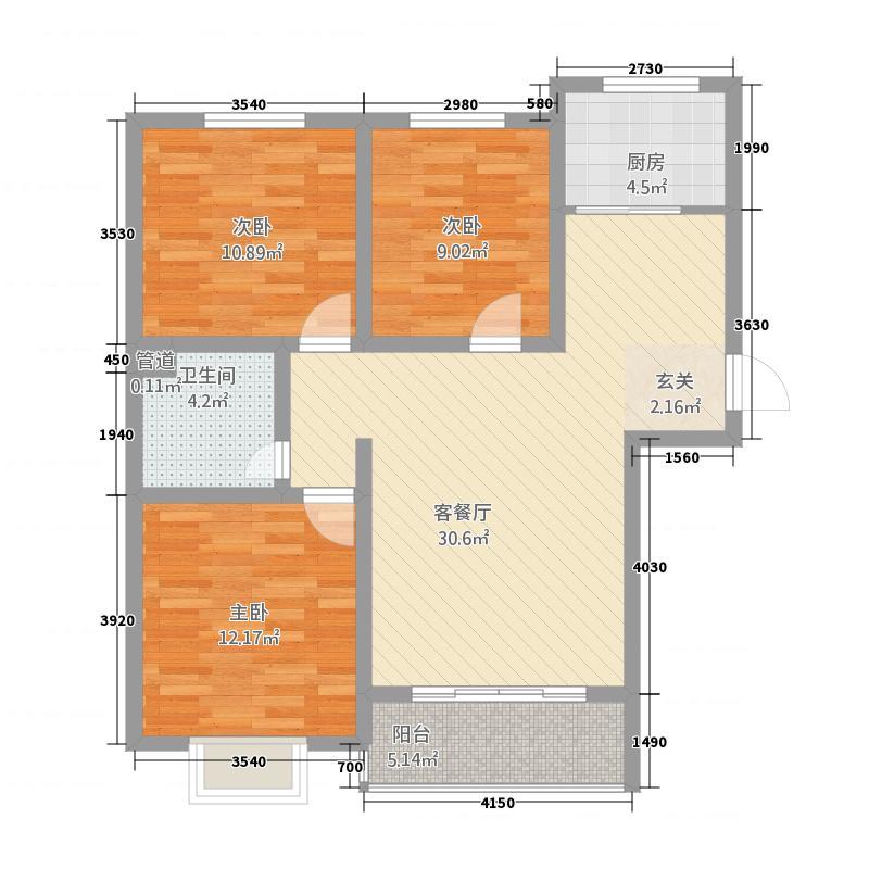 富雅锦园11.00㎡一期2号楼E户型