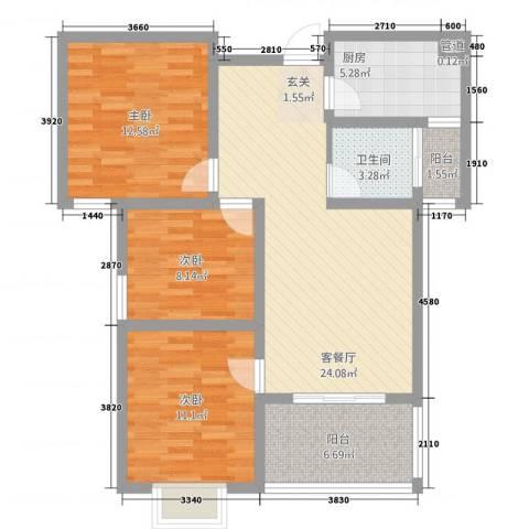 富雅锦园3室1厅1卫1厨72.84㎡户型图