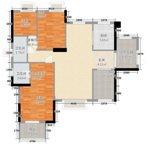诚丰怡园3室1厅2卫1厨142.00㎡户型图