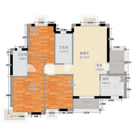 �河一�3室1厅2卫1厨78.71㎡户型图