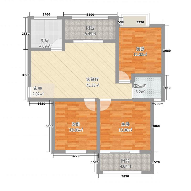 金岸名都户型3室2厅1卫1厨