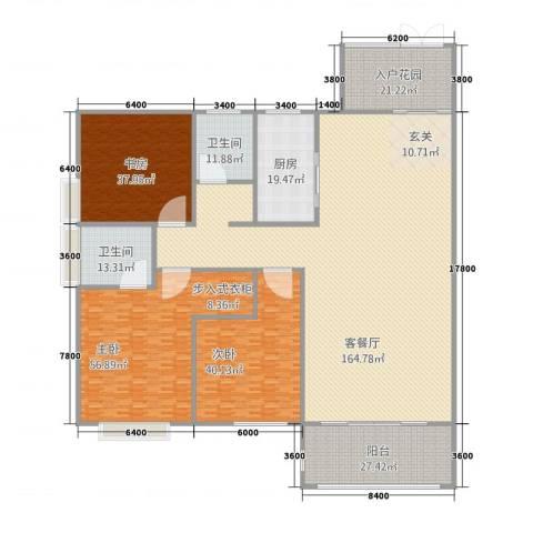 立�・领域3室1厅2卫1厨424.04㎡户型图