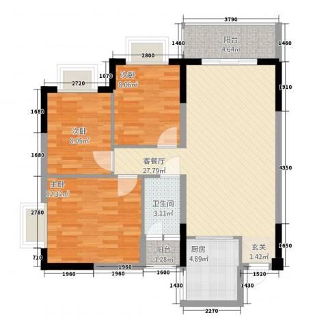 西街苑二期3室1厅1卫1厨99.00㎡户型图