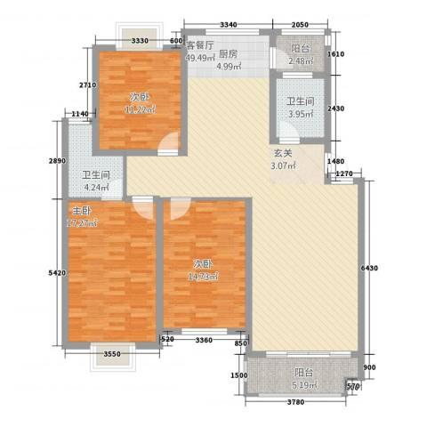 联谊花园3室1厅2卫0厨153.00㎡户型图