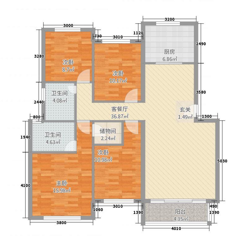 翔豪・新都125.00㎡多层户型4室2厅1卫1厨