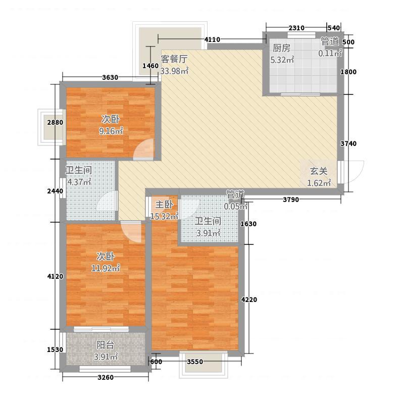 海信凤凰金岸阳光里124.00㎡1-4号楼G1户型3室2厅2卫1厨