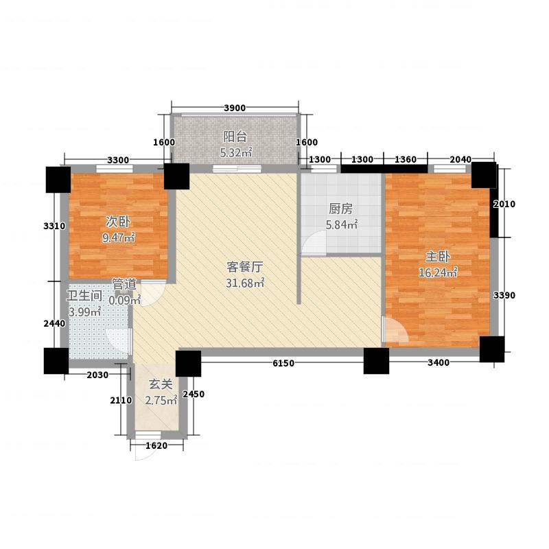宝丰公馆102.43㎡F户型2室2厅1卫1厨