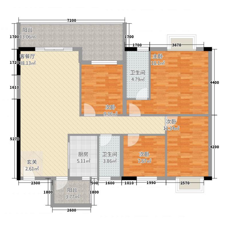 海润盛世豪庭2135.64㎡F#D2户型4室2厅2卫