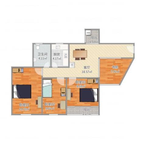 凯丰花园二期(逸园)16A1室1厅1卫1厨98.00㎡户型图