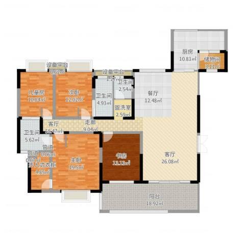 天府欣苑4室1厅3卫1厨238.00㎡户型图