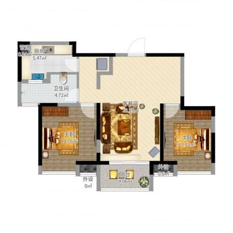 中铁滨湖名邸2室1厅1卫1厨94.00㎡户型图