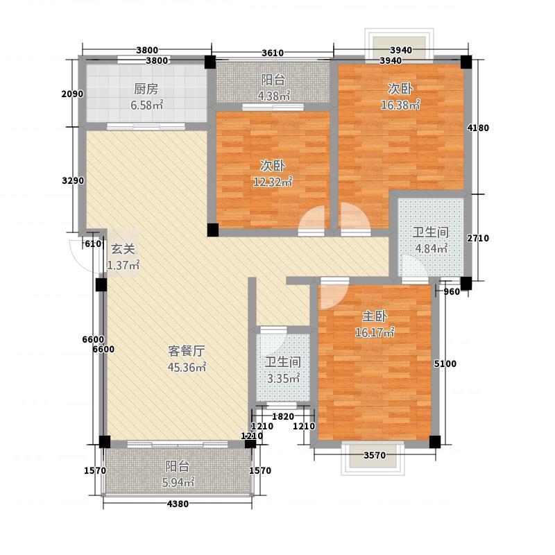 亿豪・尚品城13.00㎡A-2户型3室2厅2卫1厨