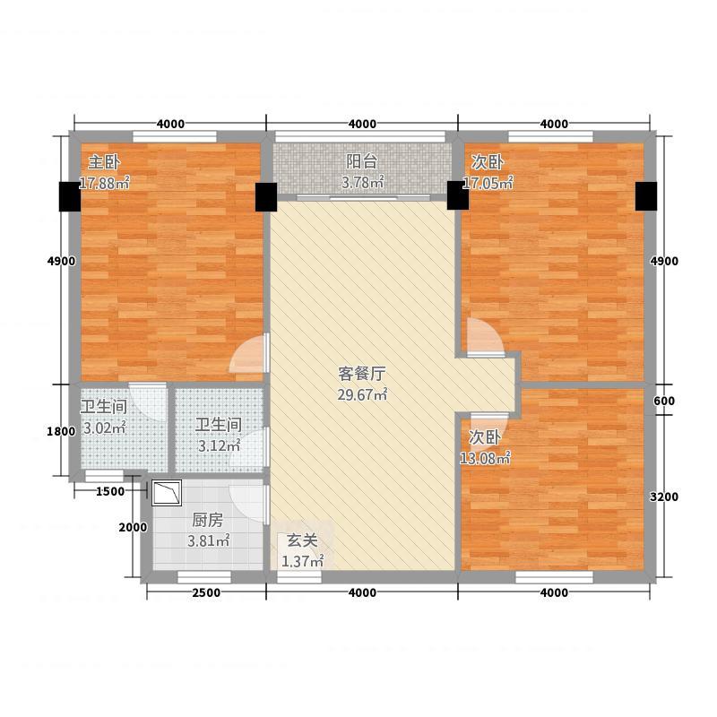 世嘉尚居12.00㎡户型3室2厅2卫1厨
