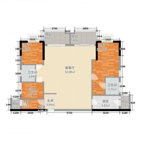 万华花园广弘叠水雨林4室1厅2卫1厨156.00㎡户型图