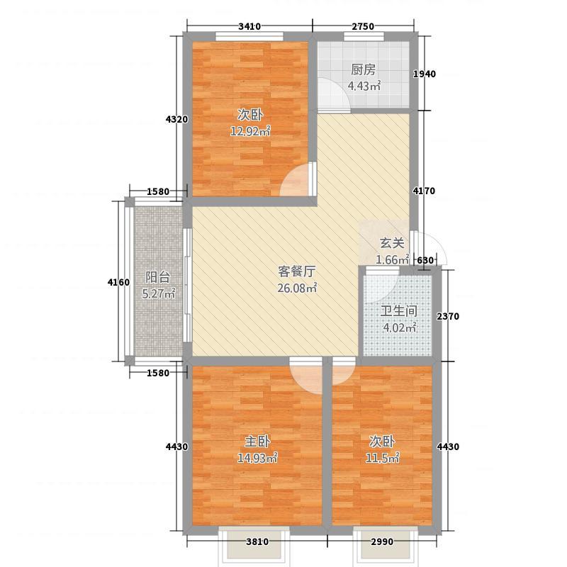 英尧・未来城1113.18㎡B1户型3室2厅1卫1厨