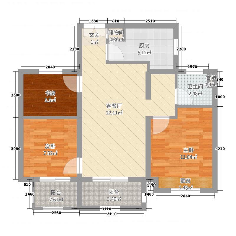 B1三室两厅一卫户型