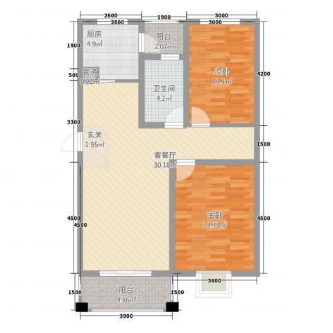 金汇・温泉雅苑2室1厅1卫1厨77.00㎡户型图
