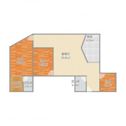 东洲花园3室1厅2卫1厨131.00㎡户型图