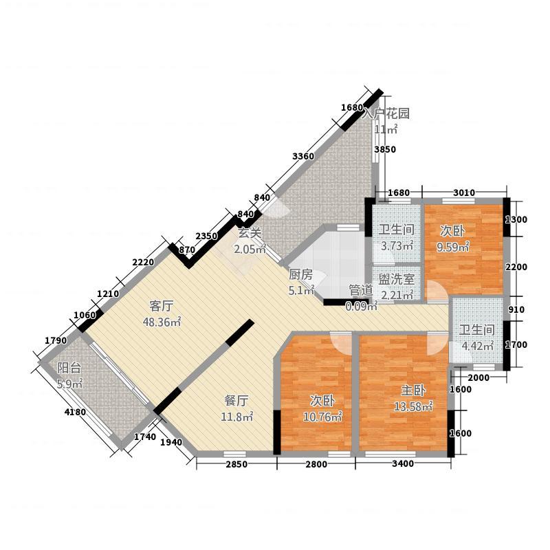 富门花园户型3室2厅1卫1厨