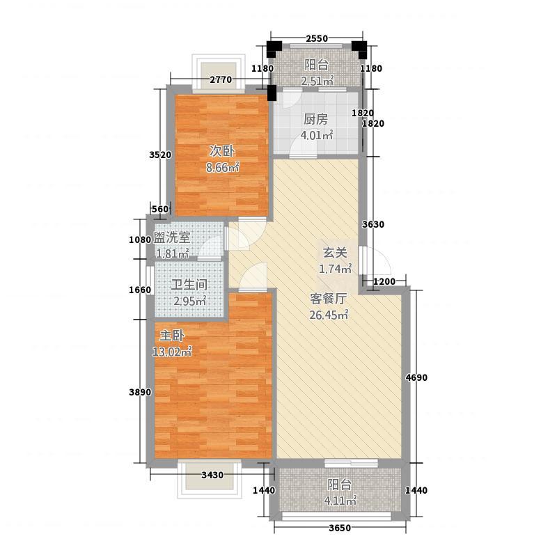 东城鑫地1.76㎡C1户型2室2厅1卫1厨