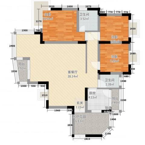 同创奥韵3室1厅2卫1厨121.00㎡户型图