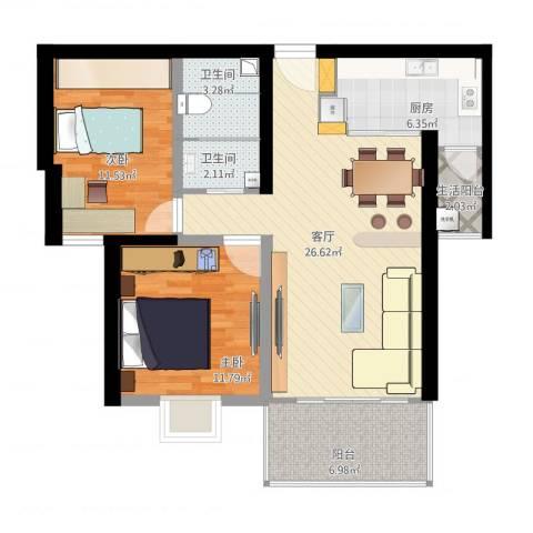 源昌国际城2室1厅2卫1厨102.00㎡户型图