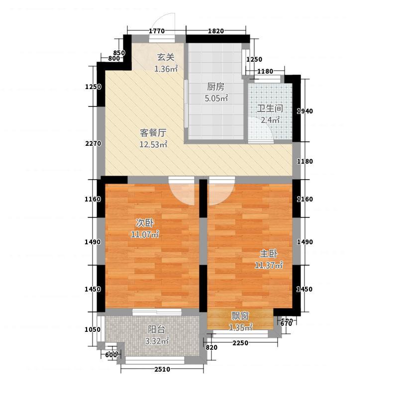 万成哈佛国际65.00㎡2015012217235530585115户型2室1厅1卫1厨