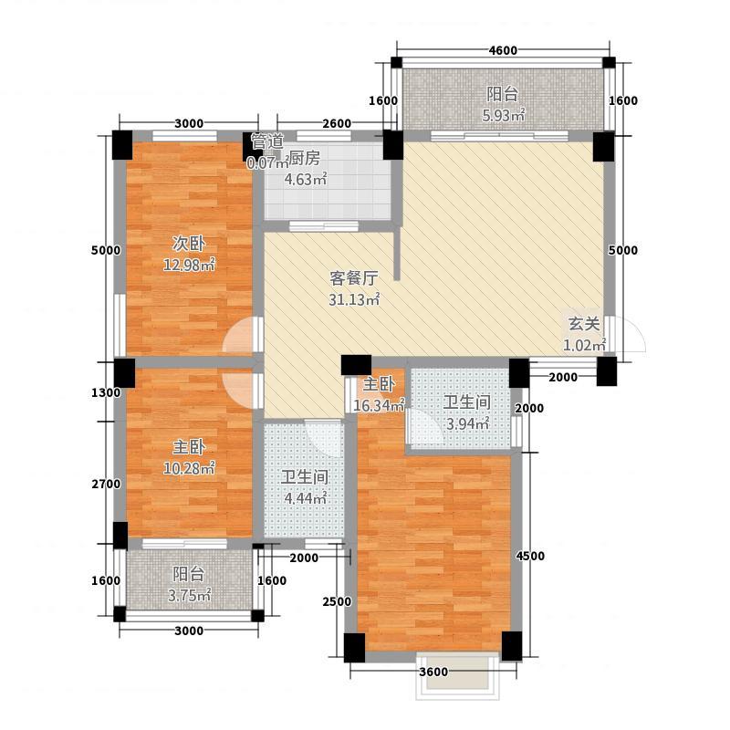 武夷山樟树园124.20㎡F户型2室2厅1厨