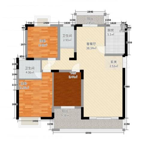 西岸润泽府3室1厅2卫1厨136.00㎡户型图