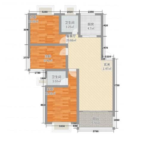 康和苑3室1厅2卫1厨115.00㎡户型图
