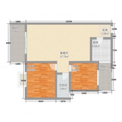 瑞鹏阳光水岸2室1厅1卫1厨82.52㎡户型图