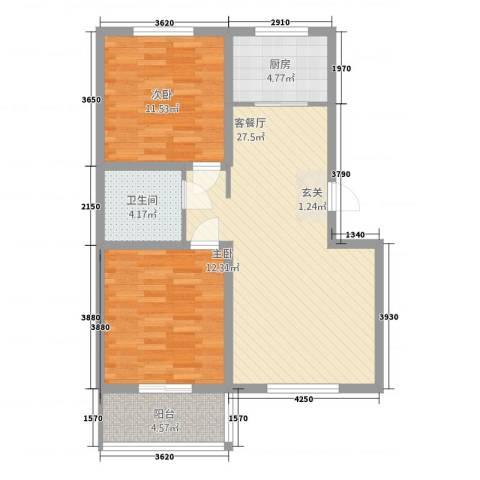 学府康城2室1厅1卫1厨83.00㎡户型图
