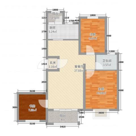 永裕枫景3室1厅1卫1厨73.60㎡户型图