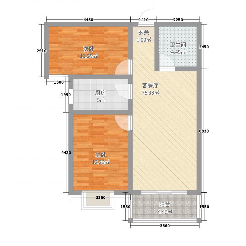 英尧・未来城31.16㎡B3户型2室2厅1卫1厨