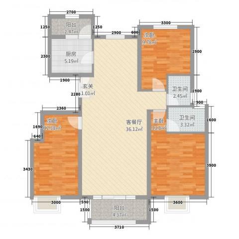 永裕枫景3室1厅2卫1厨128.00㎡户型图