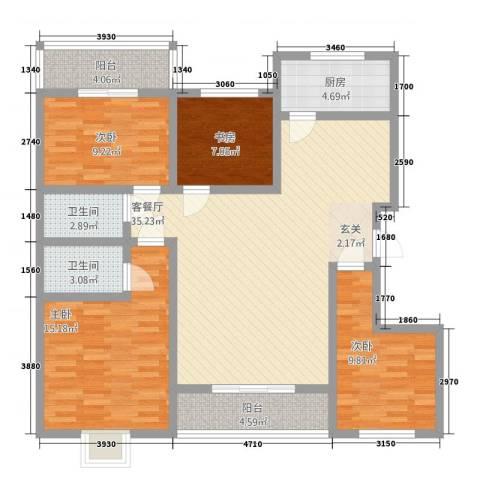 华浮宫花园洋房4室1厅2卫1厨95.79㎡户型图