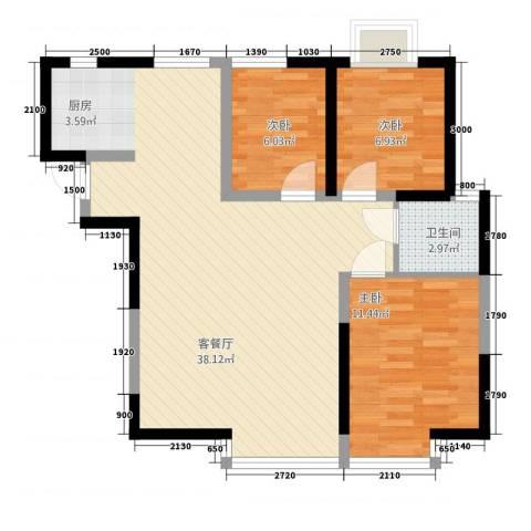 海棠别馆3室1厅1卫0厨74.38㎡户型图