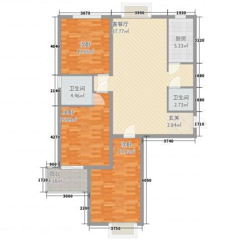 天阔逸城3室1厅2卫1厨142.00㎡户型图