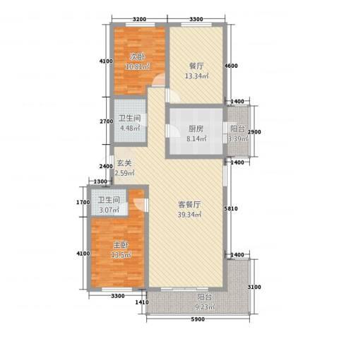 学府家园2室2厅2卫1厨150.00㎡户型图