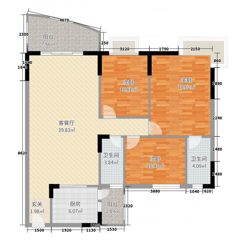 芳菲苑143.34㎡米兰阁01单位户型3室2厅2卫1厨