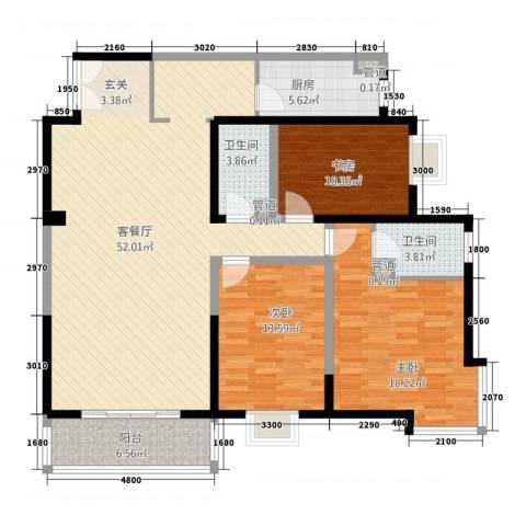 万花园3室1厅2卫1厨114.49㎡户型图
