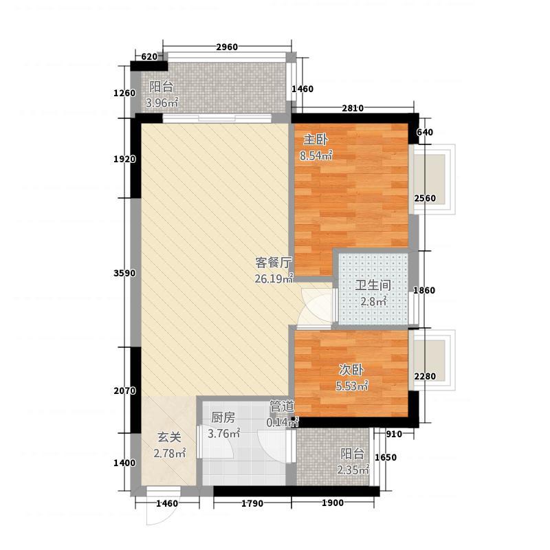 万华花园广弘叠水雨林76.00㎡C06单元户型2室2厅1卫1厨