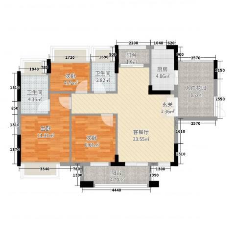 世纪城国际公馆温莎堡3室1厅2卫1厨107.00㎡户型图