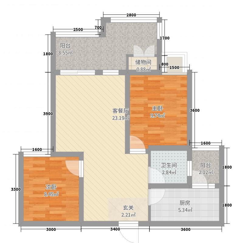 岭秀郡・财富广场7.57㎡A1户型2室2厅1卫1厨