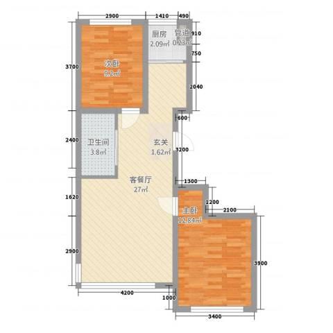浅草绿阁六期2室1厅1卫1厨79.00㎡户型图