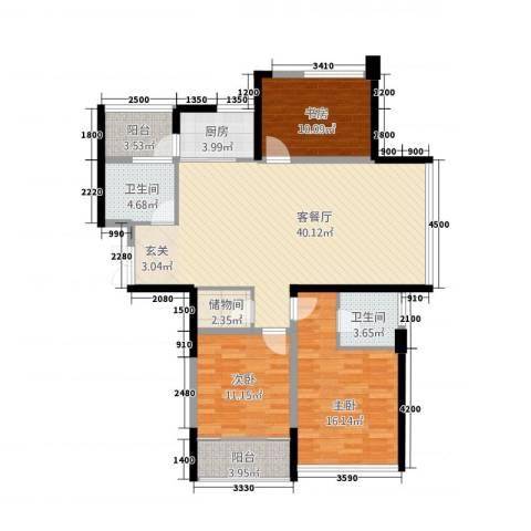 嘉联华铭座公寓3室1厅2卫1厨99.65㎡户型图