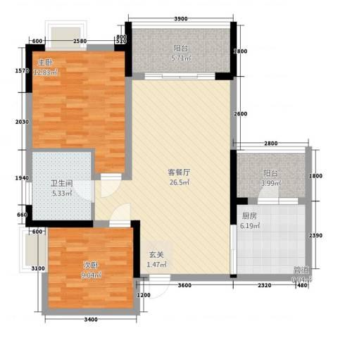 保利高尔夫华庭2室1厅1卫1厨77.00㎡户型图